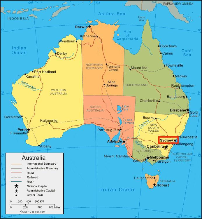 sydney mapa da austrlia